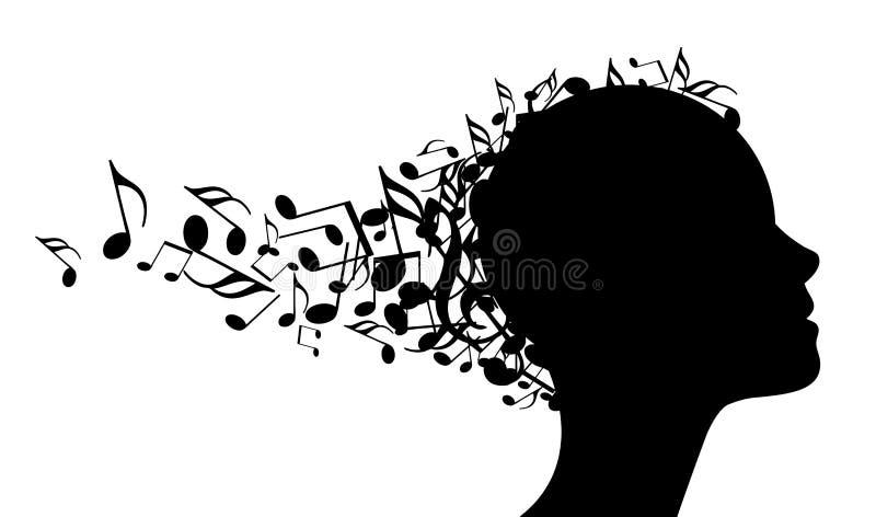 Διανυσματικό κεφάλι μουσικής διανυσματική απεικόνιση