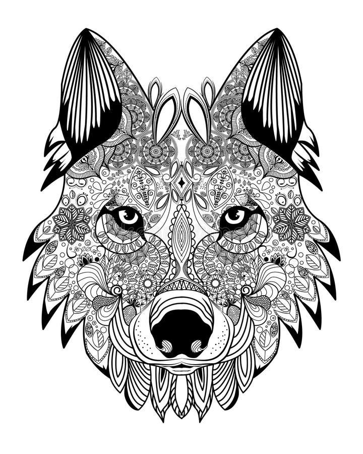 Διανυσματικό κεφάλι λύκων zentangle διανυσματική απεικόνιση