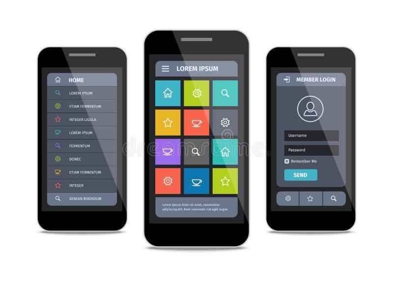 Διανυσματικό κινητό σχέδιο ui με τη σύνδεση διανυσματική απεικόνιση
