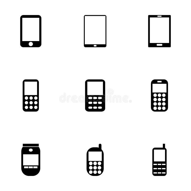 Διανυσματικό κινητό σύνολο τηλεφωνικών εικονιδίων απεικόνιση αποθεμάτων