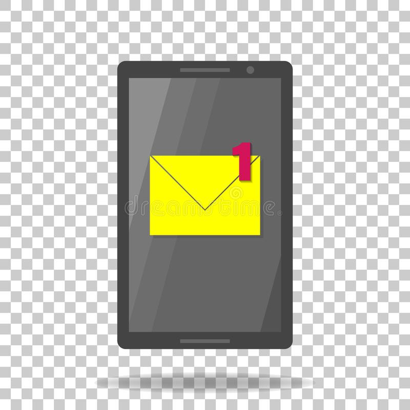 Διανυσματικό κινητό τηλέφωνο εικονιδίων sms Ένα νέο μήνυμα ανακοίνωσης ηλεκτρονικό ταχυδρομείο ελεύθερη απεικόνιση δικαιώματος