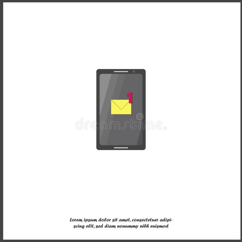 Διανυσματικό κινητό τηλέφωνο εικονιδίων sms Ένα νέο μήνυμα ανακοίνωσης Ανακοίνωση ηλεκτρονικού ταχυδρομείου απομονωμένο στο λευκό διανυσματική απεικόνιση