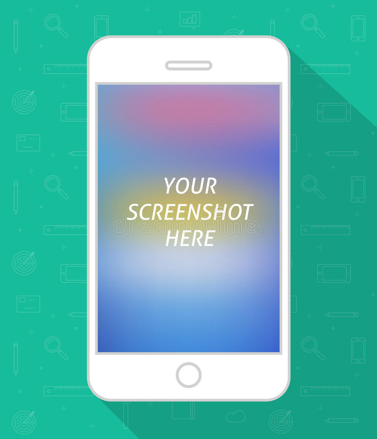 Διανυσματικό, κινητό τηλέφωνο οθόνης Smartphone με την οθόνη πυροβοληθείσα, άσπρο κινητό τηλέφωνο ελεύθερη απεικόνιση δικαιώματος
