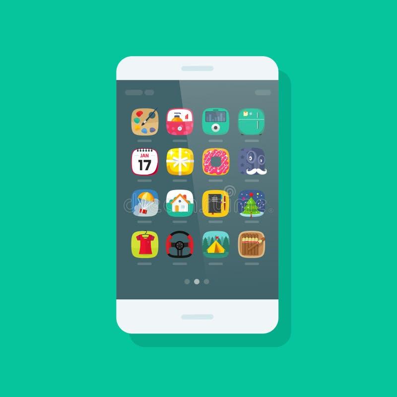 Διανυσματικό, κινητό τηλέφωνο Smartphone με app τα εικονίδια στην οθόνη διανυσματική απεικόνιση