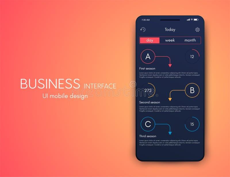 Διανυσματικό κινητό infographics γραφικής παράστασης με τρεις επιλογές Πρότυπο για τη δημιουργία των κινητών εφαρμογών, σχεδιάγρα απεικόνιση αποθεμάτων