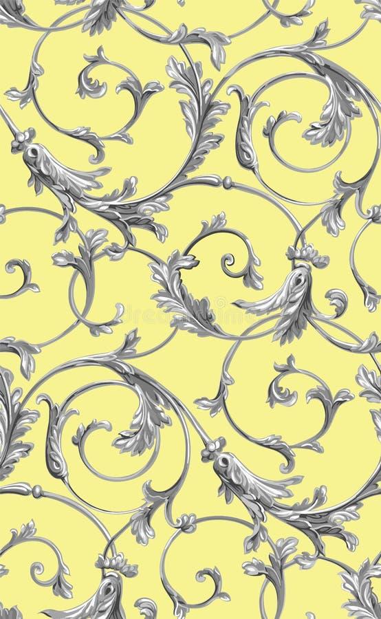 Διανυσματικό κλασικό άνευ ραφής υπόβαθρο σχεδίων Κλασσική ντεμοντέ κλασική διακόσμηση πολυτέλειας, βασιλική βικτοριανή άνευ ραφής ελεύθερη απεικόνιση δικαιώματος
