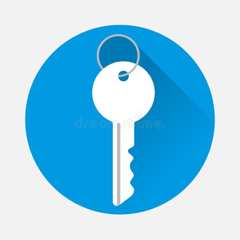 Διανυσματικό κλειδί εικονιδίων στο μπλε υπόβαθρο Επίπεδο κλειδί εικόνας με το μακρύ sha απεικόνιση αποθεμάτων
