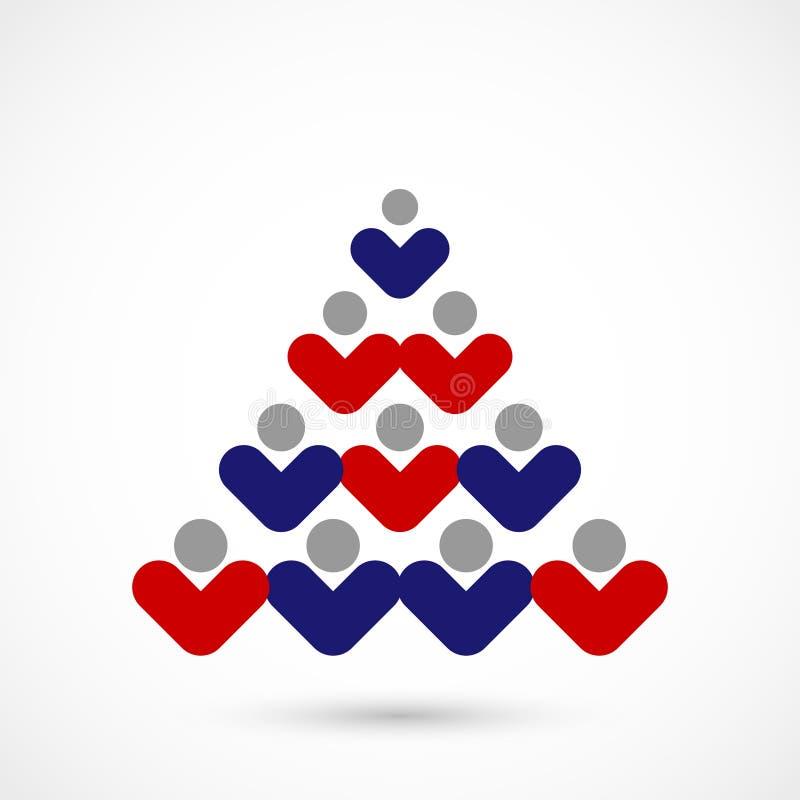 Διανυσματικό κοινωνικό χριστουγεννιάτικο δέντρο απεικόνιση αποθεμάτων