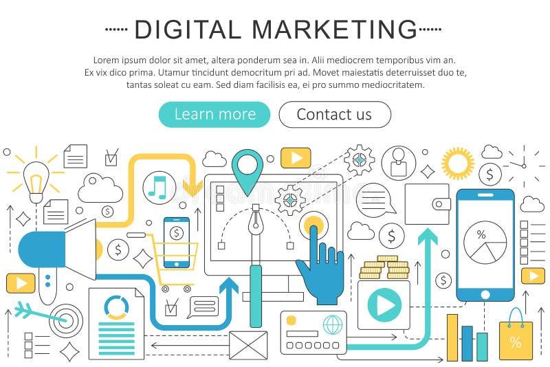 Διανυσματικό κομψό λεπτό ψηφιακό μάρκετινγκ σχεδίου σύγχρονης τέχνης γραμμών επίπεδο, σε απευθείας σύνδεση τηλεοπτική έννοια διανυσματική απεικόνιση