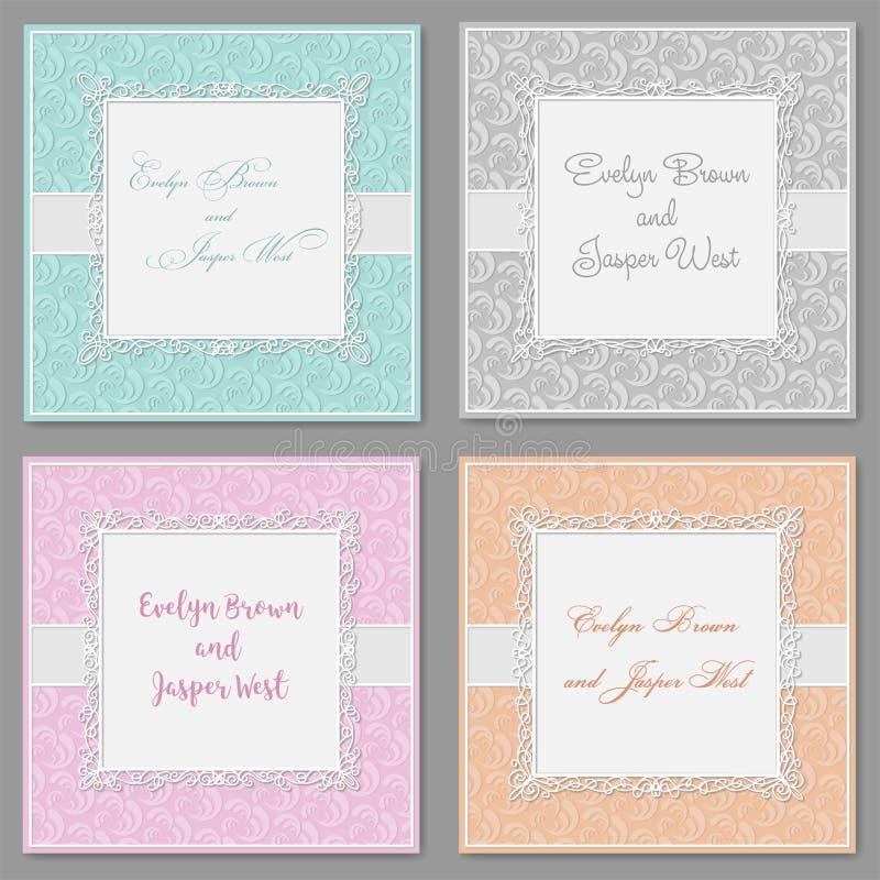 Διανυσματικό κομψό σύνολο γαμήλιας πρόσκλησης Όμορφες μοντέρνες κάρτες W απεικόνιση αποθεμάτων