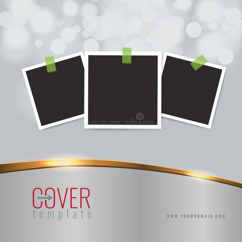 Διανυσματικό κομψό υπόβαθρο σχεδίου επιχειρησιακής κάλυψης με τη χρυσά επίδραση γραμμών και τα πλαίσια και τα σύνορα φωτογραφιών  απεικόνιση αποθεμάτων