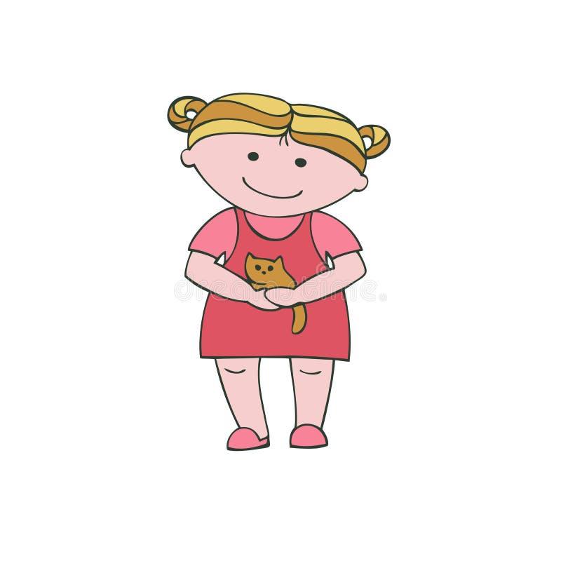 Διανυσματικό κορίτσι απεικόνισης που κρατά ένα γατάκι απεικόνιση αποθεμάτων