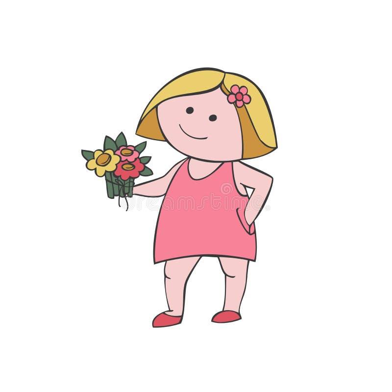 Διανυσματικό κορίτσι α με μια ανθοδέσμη απεικόνιση αποθεμάτων