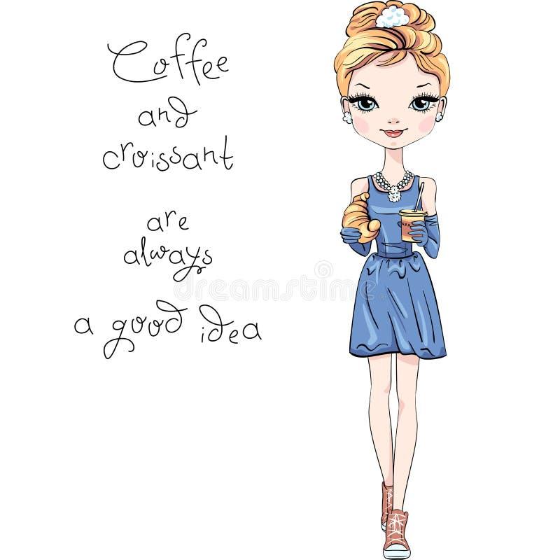 Διανυσματικό κορίτσι μόδας με τον καφέ και croissant ελεύθερη απεικόνιση δικαιώματος