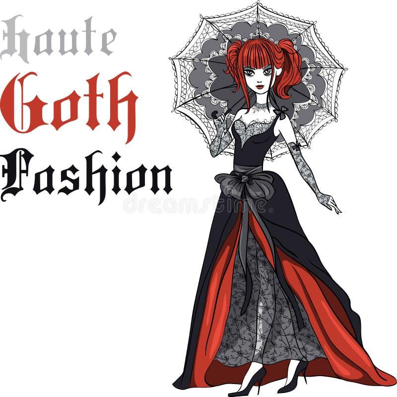 Διανυσματικό κορίτσι Goth στο μαύρο φόρεμα με την ομπρέλα ελεύθερη απεικόνιση δικαιώματος