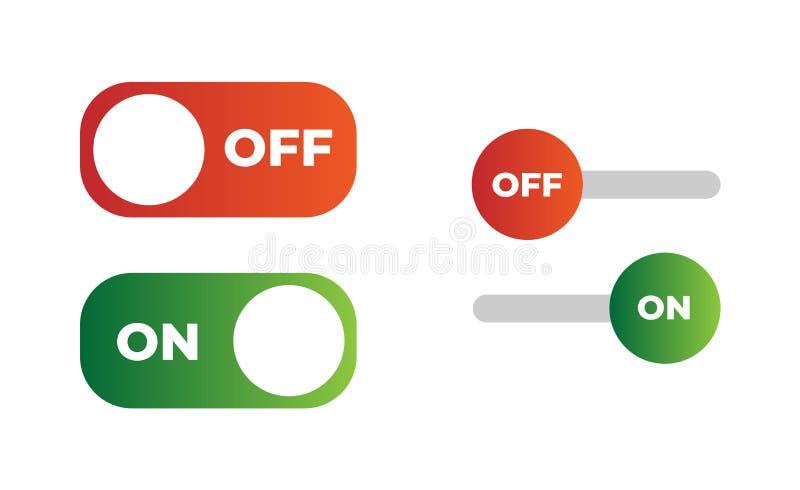 Διανυσματικό κουμπί διακοπτών με διακοπτόμενα επίσης corel σύρετε το διάνυσμα απεικόνισης Σχεδιασμένος για τον Ιστό και τα κινητά απεικόνιση αποθεμάτων