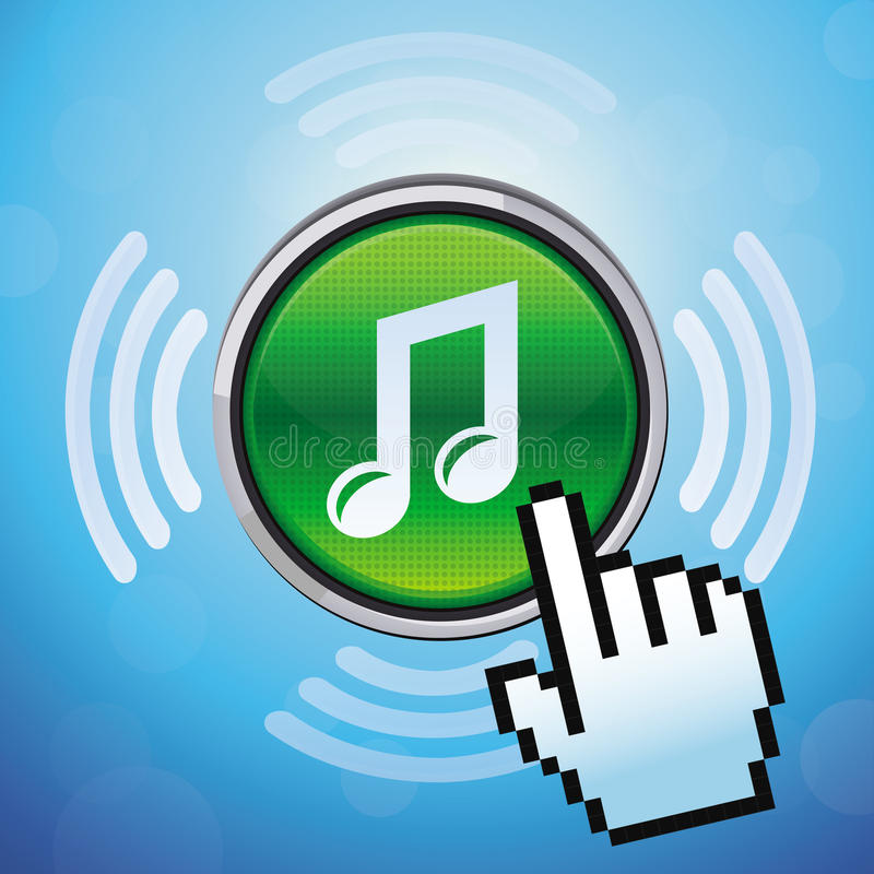 Διανυσματικό κουμπί με τη σημείωση μουσικής και το δρομέα χεριών απεικόνιση αποθεμάτων