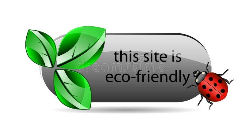 Διανυσματικό κουμπί eco με το πράσινο φύλλο και ladybug διανυσματική απεικόνιση