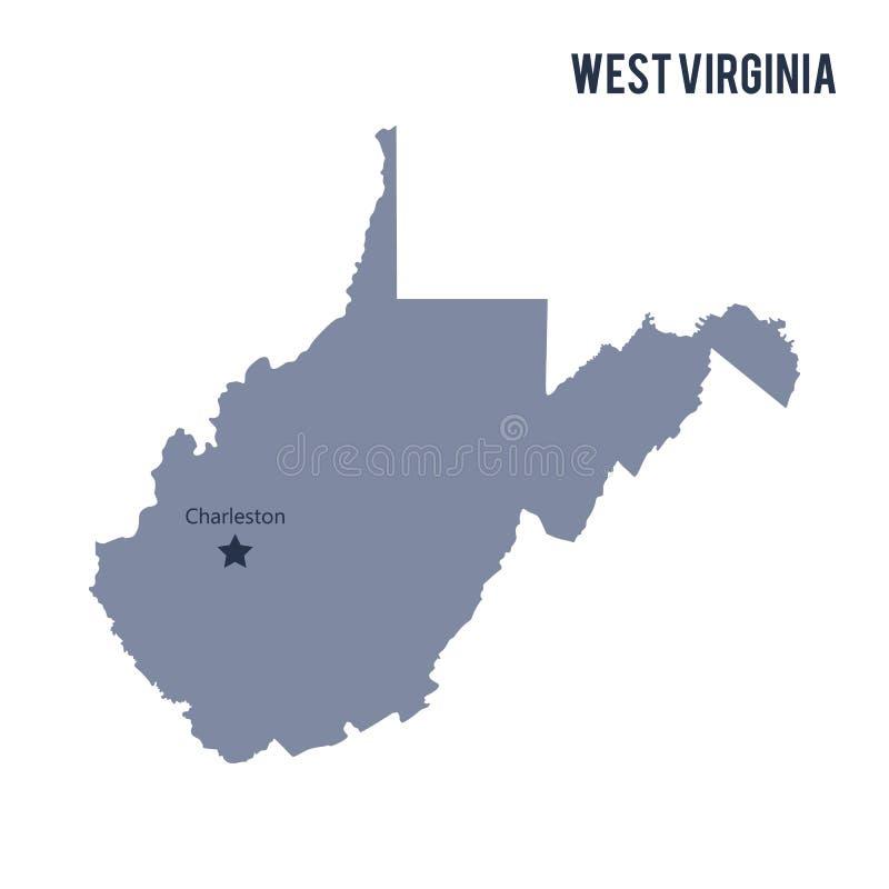 Διανυσματικό κράτος χαρτών της δυτικής Βιρτζίνια που απομονώνεται στο άσπρο υπόβαθρο απεικόνιση αποθεμάτων