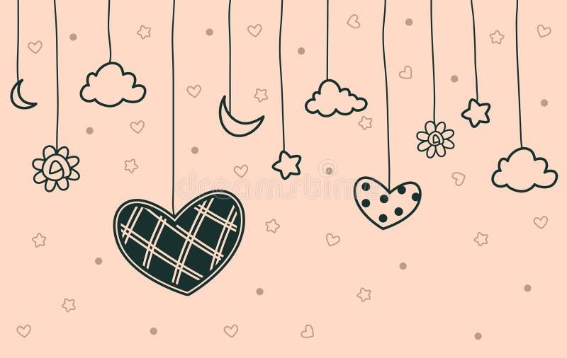 Διανυσματικό κρεμώντας εικονίδιο αγάπης με το αστέρι φεγγαριών σύννεφων και το υπόβαθρο λουλουδιών απεικόνιση αποθεμάτων