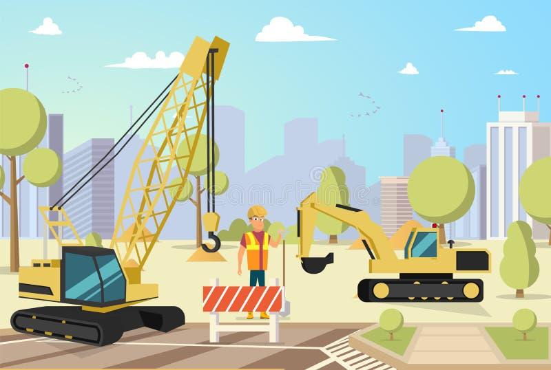 Διανυσματικό κτήριο οικοδόμησης πόλεων έννοιας σύγχρονο ελεύθερη απεικόνιση δικαιώματος