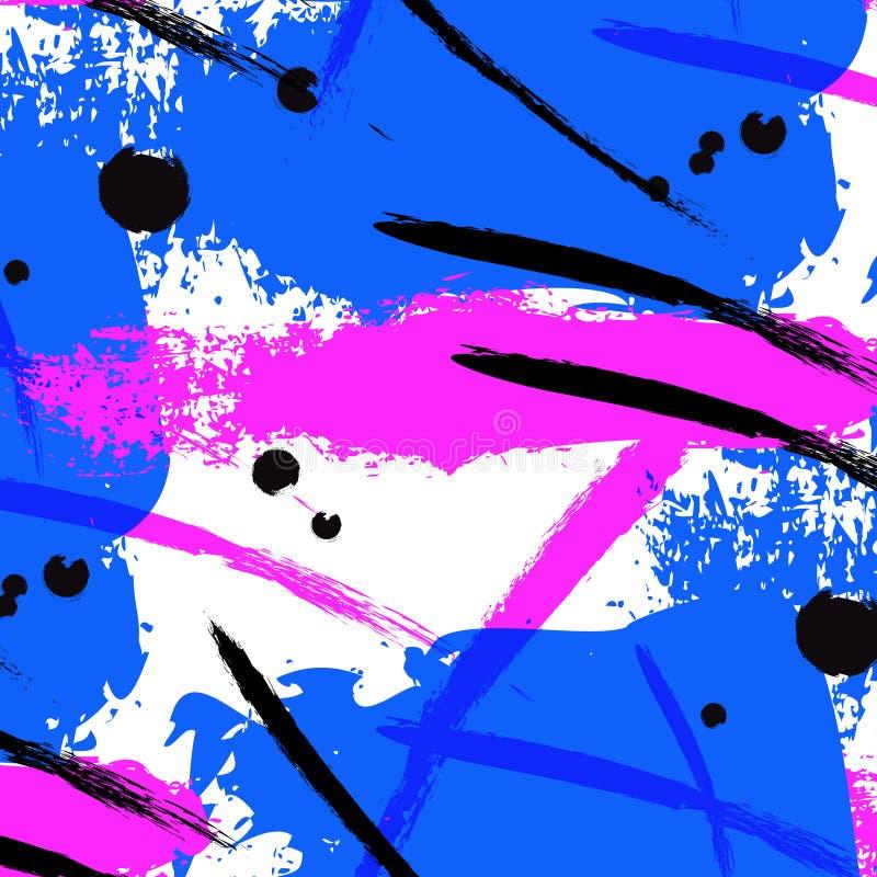 Διανυσματικό κτύπημα βουρτσών παφλασμών νέου Υγρό φωτεινό σχέδιο αφισών Ζωηρόχρωμη κάλυψη αντίθεσης χρωμάτων Αφηρημένη απλή τέχνη διανυσματική απεικόνιση