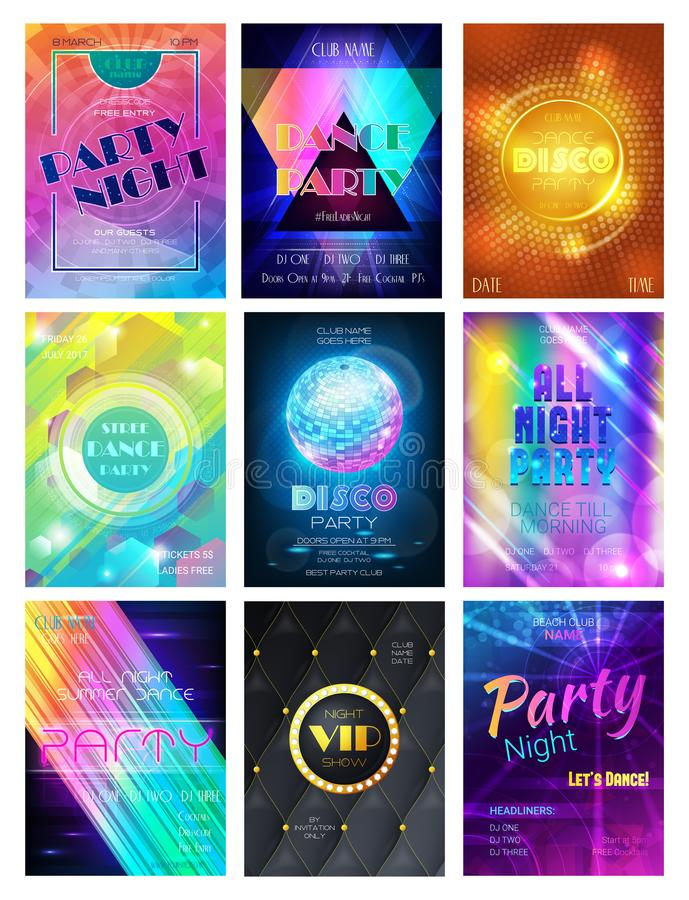 Διανυσματικό κτύπημα υποβάθρου και νύχτας αφισών λεσχών ή νυχτερινών κέντρων διασκέδασης disco σχεδίων κόμματος ή σύνολο απεικόνι απεικόνιση αποθεμάτων