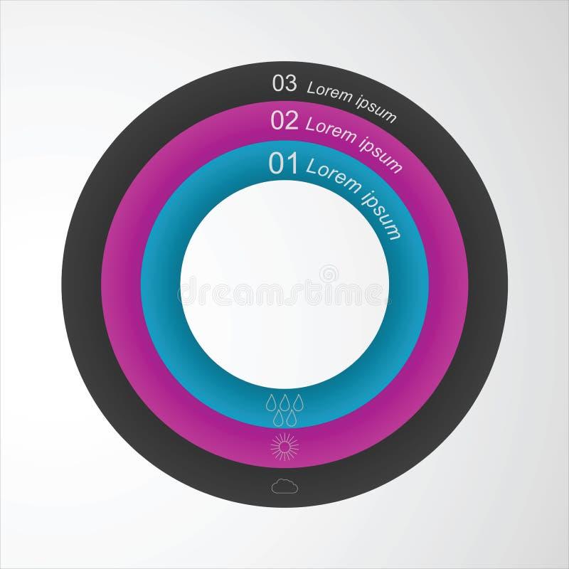 Διανυσματικό κυκλικό infographic πρότυπο στοιχείων για να σχεδιάσει έναν ιστοχώρο ελεύθερη απεικόνιση δικαιώματος