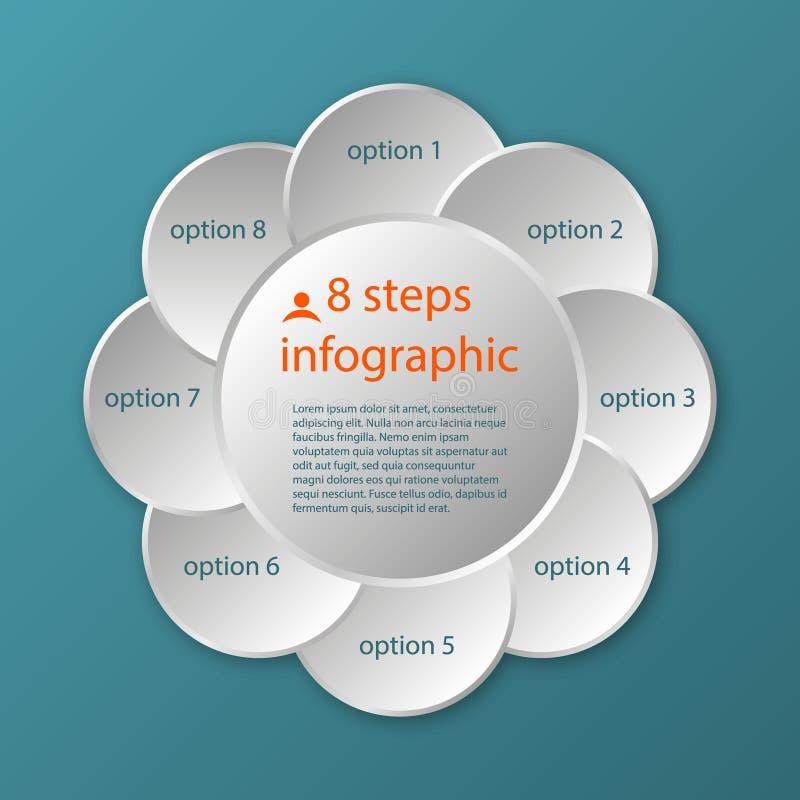Διανυσματικό κυκλικό infographic πρότυπο 8 υπόδειξης ως προς το χρόνο βήματα απεικόνιση αποθεμάτων