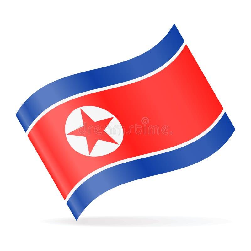 Διανυσματικό κυματίζοντας εικονίδιο σημαιών Βόρεια Κορεών διανυσματική απεικόνιση