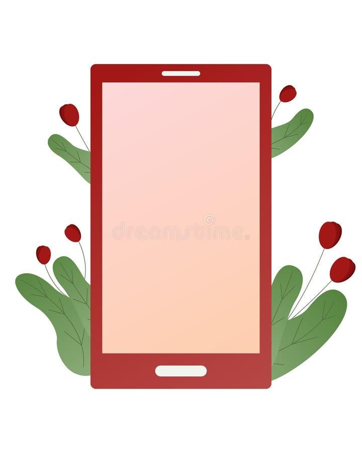 Διανυσματικό κόκκινο έξυπνο τηλέφωνο που απομονώνεται στο άσπρο υπόβαθρο Με τις εγκαταστάσεις και τα λουλούδια ελεύθερη απεικόνιση δικαιώματος