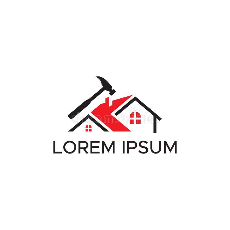 Διανυσματικό κόκκινο και μαύρο χρώμα κατασκευής εγχώριων λογότυπων ελεύθερη απεικόνιση δικαιώματος