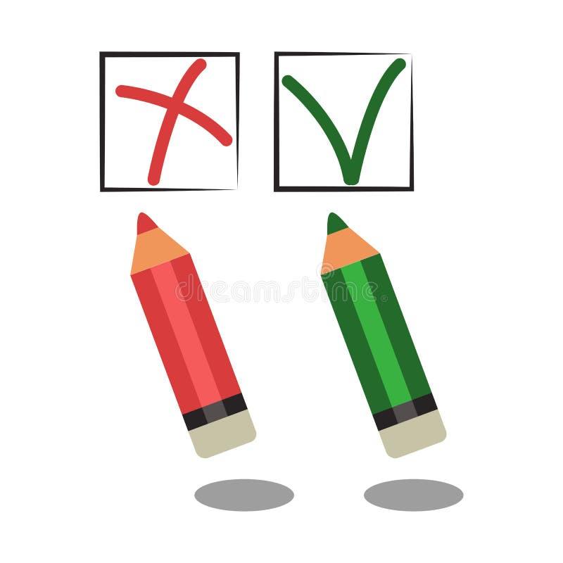 Διανυσματικό κόκκινο και πράσινο μολύβι, λανθασμένη και σωστή επιλογή στοκ εικόνα