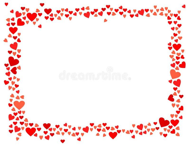 Διανυσματικό κόκκινο οριζόντιο πλαίσιο καρδιών που απομονώνεται στο άσπρο υπόβαθρο απεικόνιση αποθεμάτων