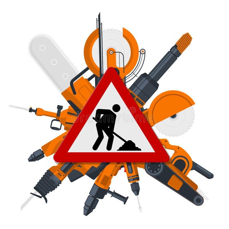 Διανυσματικό κόκκινο σημάδι κατασκευών με τα ηλεκτρικά εργαλεία πίσω διανυσματική απεικόνιση