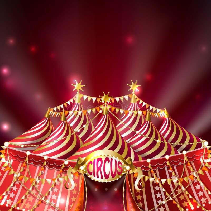 Διανυσματικό κόκκινο υπόβαθρο με τη ριγωτή σκηνή τσίρκων απεικόνιση αποθεμάτων