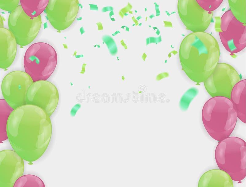 Διανυσματικό κόμμα απεικόνισης αποθεμάτων που πετά τα πορφυρά και διάφορα ρεαλιστικά μπαλόνια χρωμάτων Μακρο επίδραση Defocused Π απεικόνιση αποθεμάτων