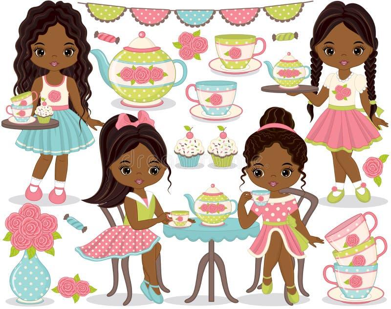 Διανυσματικό κόμμα τσαγιού που τίθεται με τα κορίτσια λίγων αφροαμερικάνων, Cupcakes, το δοχείο τσαγιού και τα φλυτζάνια απεικόνιση αποθεμάτων