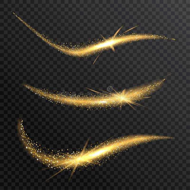 Διανυσματικό λαμπιρίζοντας κύμα κομφετί Η αίσθηση μαγείας ακτινοβολεί φωτεινό ίχνος διανυσματική απεικόνιση