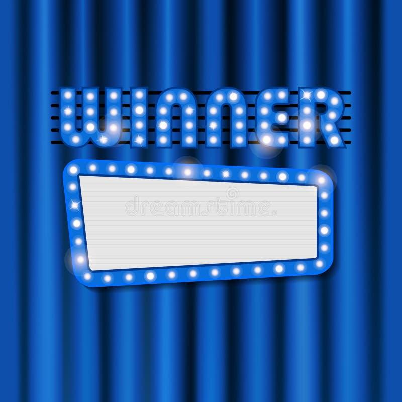 Διανυσματικό λαμπρό πλαίσιο για το νικητή στο μπλε υπόβαθρο κουρτινών διανυσματική απεικόνιση