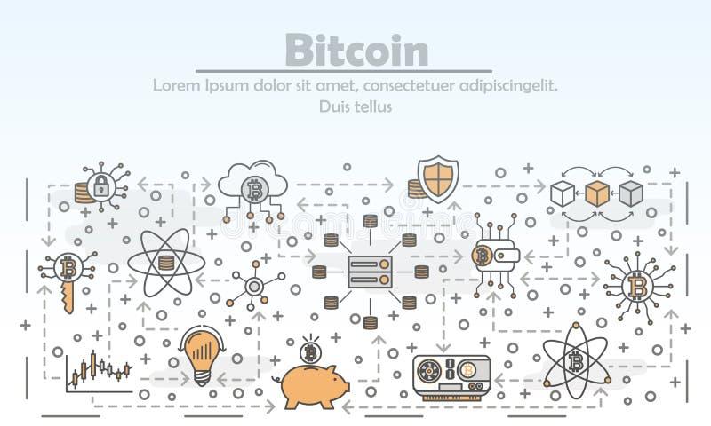 Διανυσματικό λεπτό έμβλημα αφισών τέχνης γραμμών bitcoin ελεύθερη απεικόνιση δικαιώματος