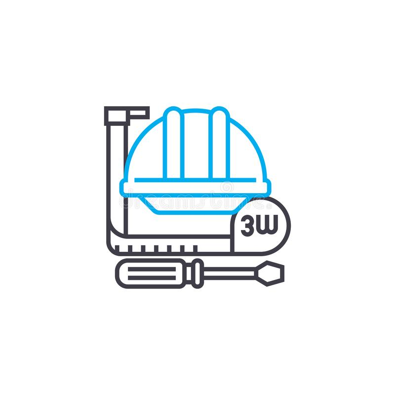 Διανυσματικό λεπτό εικονίδιο κτυπήματος γραμμών εργαλείων εργασίας Απεικόνιση περιλήψεων εργαλείων εργασίας, γραμμικό σημάδι, ένν ελεύθερη απεικόνιση δικαιώματος
