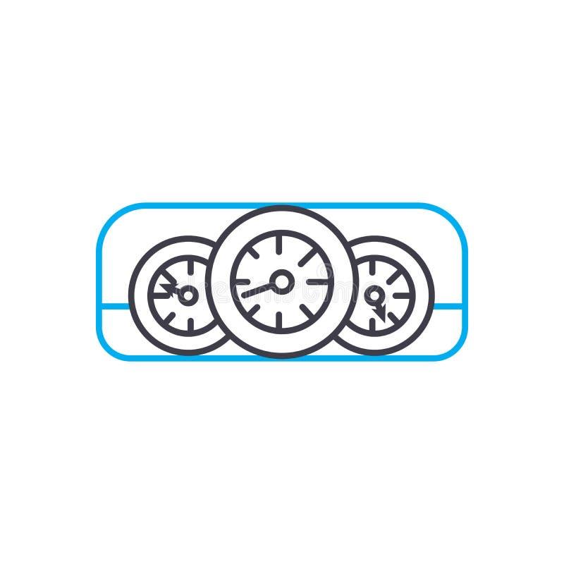 Διανυσματικό λεπτό εικονίδιο κτυπήματος γραμμών ταμπλό αυτοκινήτων Απεικόνιση περιλήψεων ταμπλό αυτοκινήτων, γραμμικό σημάδι, ένν απεικόνιση αποθεμάτων