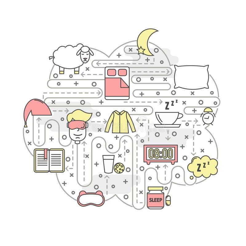Διανυσματικό λεπτό πρότυπο εμβλημάτων αφισών ύπνου τέχνης γραμμών διανυσματική απεικόνιση