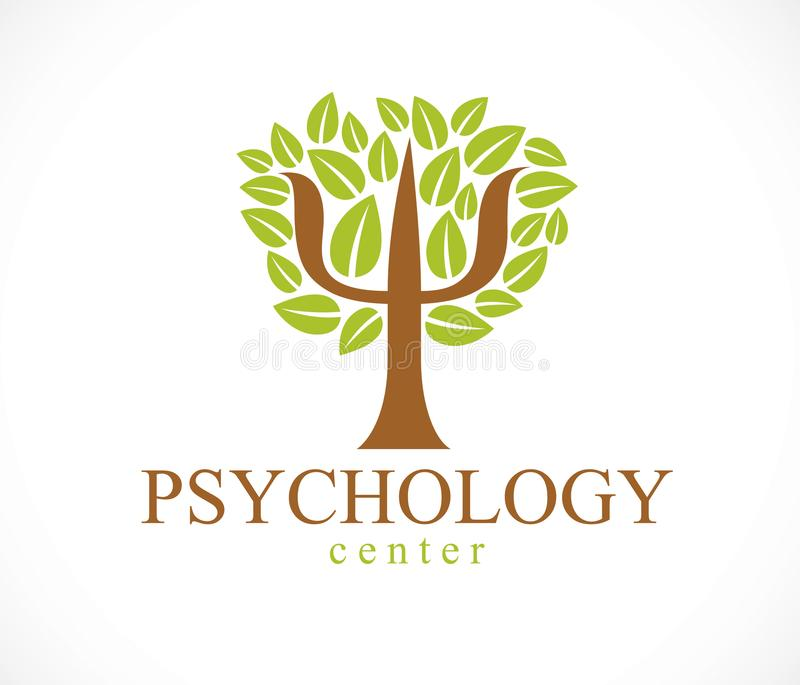 Διανυσματικό λογότυπο ή εικονίδιο έννοιας ψυχολογίας που δημιουργείται με το ελληνικό PSI sy διανυσματική απεικόνιση