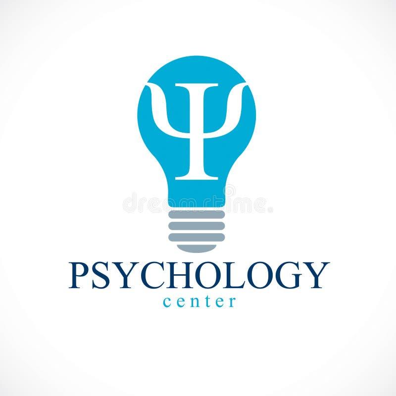 Διανυσματικό λογότυπο ή εικονίδιο ψυχολογίας με το σύμβολο αρχαίου Έλληνα PSI μέσα της ιδέας απεικόνιση αποθεμάτων