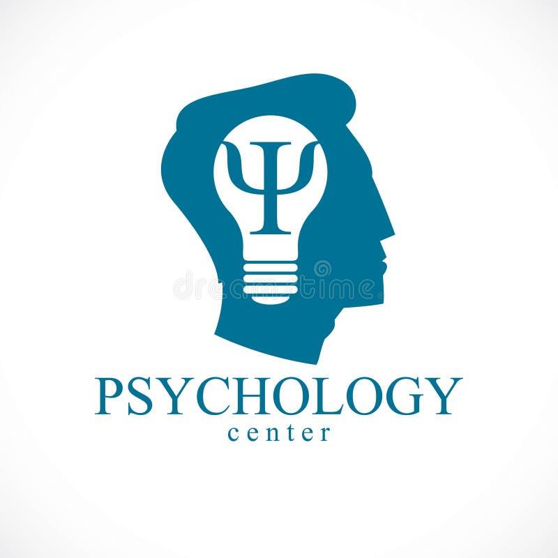 Διανυσματικό λογότυπο ή εικονίδιο ψυχολογίας με το INS συμβόλων αρχαίου Έλληνα PSI διανυσματική απεικόνιση
