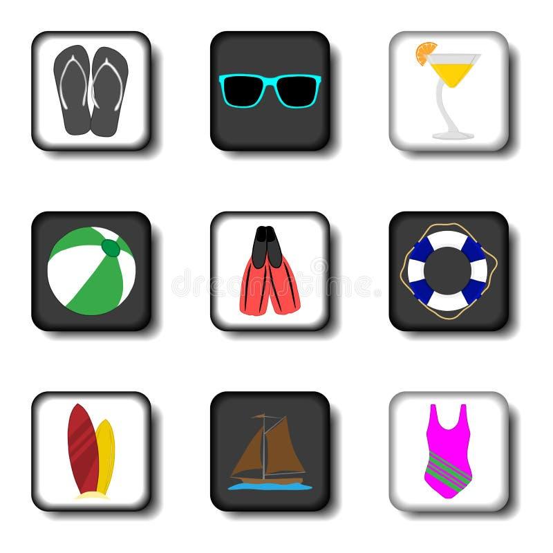 Διανυσματικό λογότυπο απεικόνισης εικονιδίων για τα καθορισμένα σύμβολα στο οριζόντια χρωματισμένο Bu ελεύθερη απεικόνιση δικαιώματος