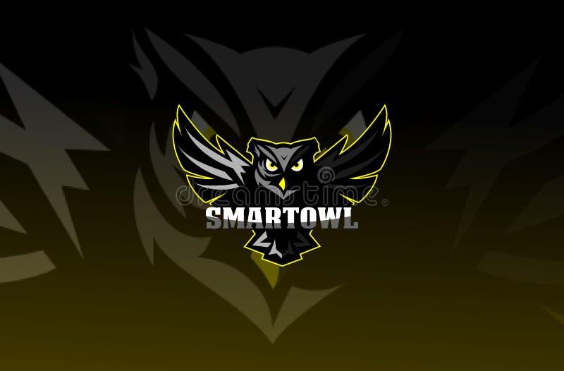 Διανυσματικό λογότυπο απεικόνισης μασκότ κουκουβαγιών esport ελεύθερη απεικόνιση δικαιώματος