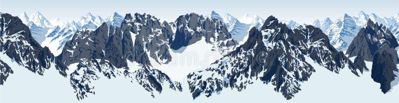Διανυσματικό λογότυπο βουνών Everest Έμβλημα με το υψηλότερο peack στον κόσμο Απεικόνιση ετικετών ορειβασίας διανυσματική απεικόνιση